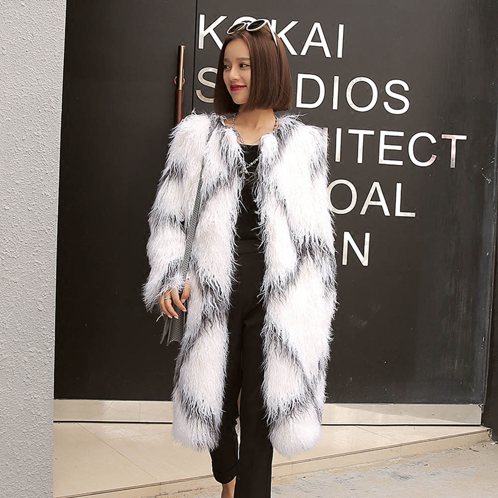 Stylish Rhombus Plaid Contrast Color Long Hairy Shaggy Faux Sheep Fur Coat Women Faux Fur Mid Long Coats Warm Outerwear femme