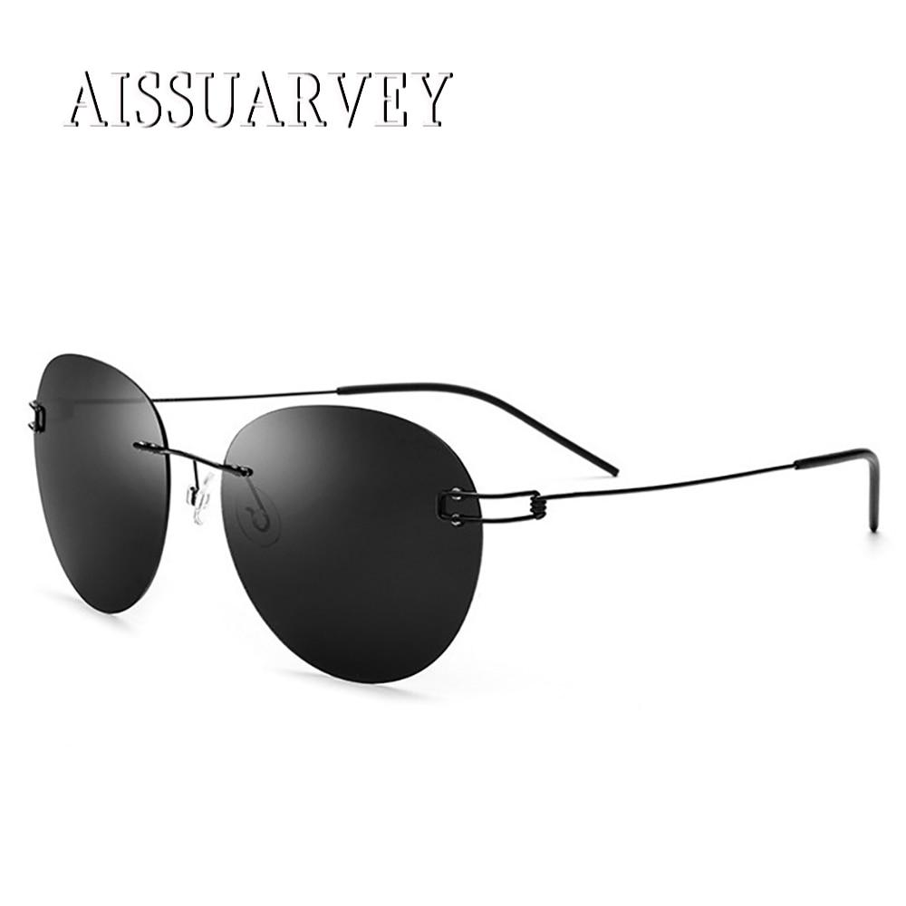 2019 Rimless Titanium Alloy Sun Glasses Round Vintage