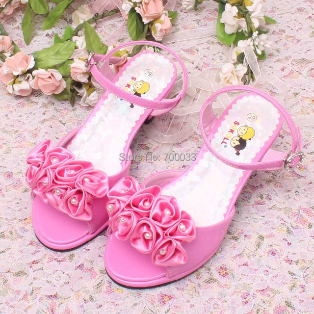 Hot Sale!! High Heel Girls Bridal Wedding Shoes Princess Pink High ...