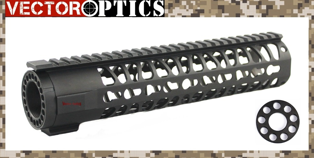 Tactical AR15 M4 KeyMod 10 inch Rifle Length Free Floating OnePiece Handguard Rail Mount System free 0.75 Barrel End Cap