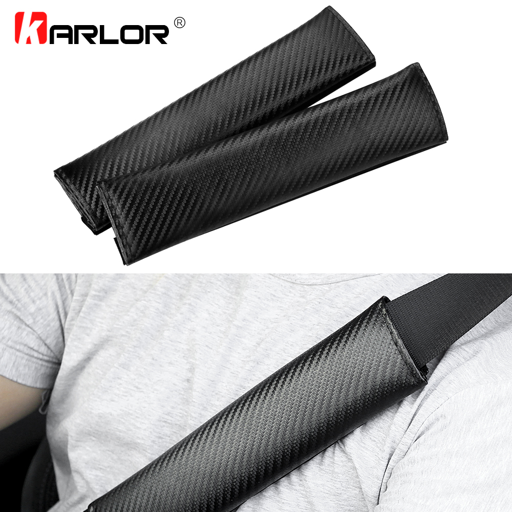 2pcs/lot Comfortable Car Safety Seat Belt Shoulder Pads Cover Cushion Carbon Fiber Cloth Harness Pad Car-styling Accessories