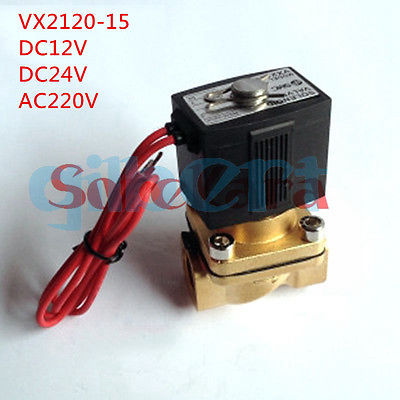 12VDC 24VDC 220VAC 1/2 Electric Solenoid Valve Air Water VX2120-15 2 Way Normally Closed free shipping normally closed solenoid valve 2v025 08 220vac 1 4 high qulity for water air gas 2v sereis two way valve