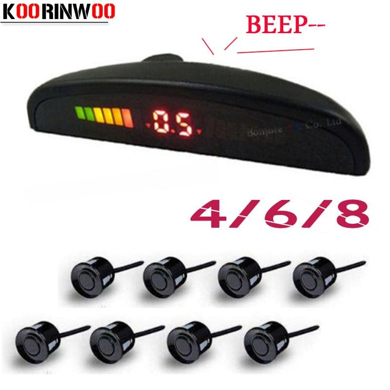 Koorinwoo LED Screen Parktronic Car Parking Sensor 4/6/8 Radars Sound Alert Indicator Probes Parking Assistance Black Silver