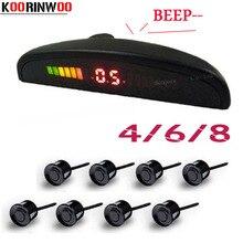 Koorinwoo Schermo A LED Auto Parktronic Sensore di Parcheggio 4/6/8 Radar Indicatore di Suono di Avviso Sonde di Assistenza Al Parcheggio Nero argento