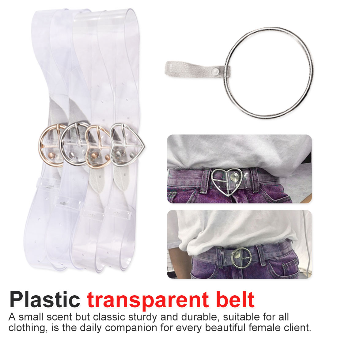 PVC Clear Belt Heart Belts For Women Resin Cute Transparent Belt Waist Strap Pin Buckle Harajuku Ladies Round Jeans Dress