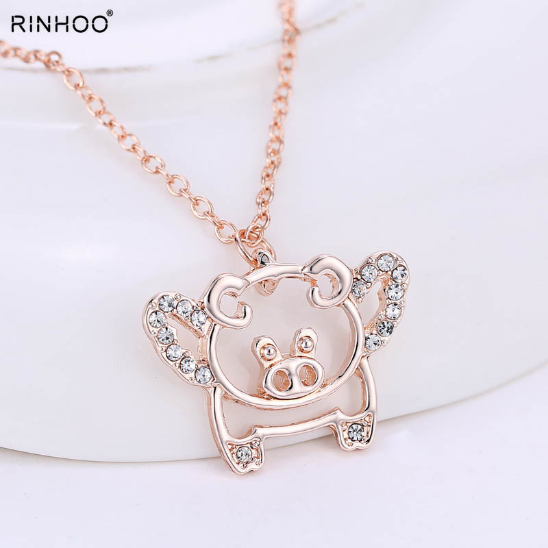 Luck Flying Pig Necklace Pig Luck Pendant Pigs Pandent Necklaces Rose New flying cute crystal luck pendant necklaces for women