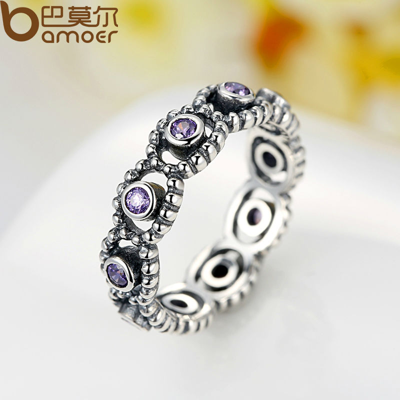 BAMOER Silver Color Sparkling ROMANCE SILVER RING WITH Purple CUBIC ZIRCONIA for Women Jewelry PA7201