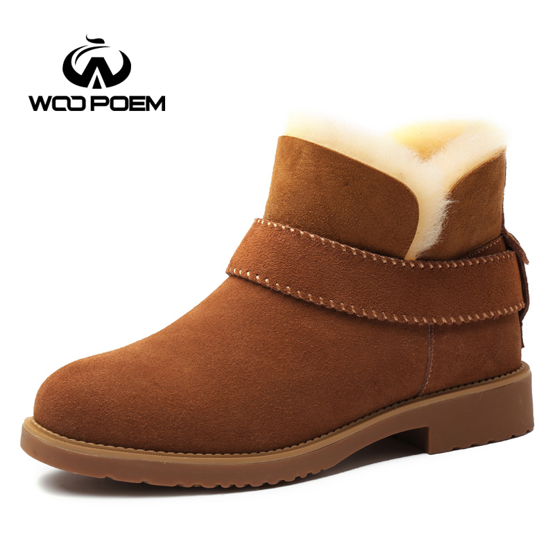 WooPoem 2016 New Winter Shoes Women Flat Snow Boots Breathable Cow Suede Shoes Low Heel Ankle Boots Plush Women Boots 6658-1 kelme 2016 new children sport running shoes football boots synthetic leather broken nail kids skid wearable shoes breathable 49