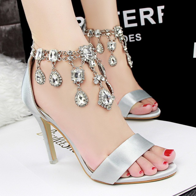 Women sandals 2015 summer Rhinestone shoes woman gold black 6 color high  heels ankle strap crystal