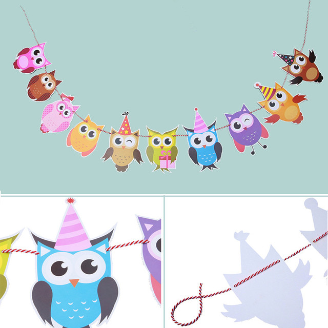 DIY Cartoon Animal Birthday Holidays Party Banner Kids Decor Animal Big Happy Family Baby Shower Party Flags Hanging Ornament