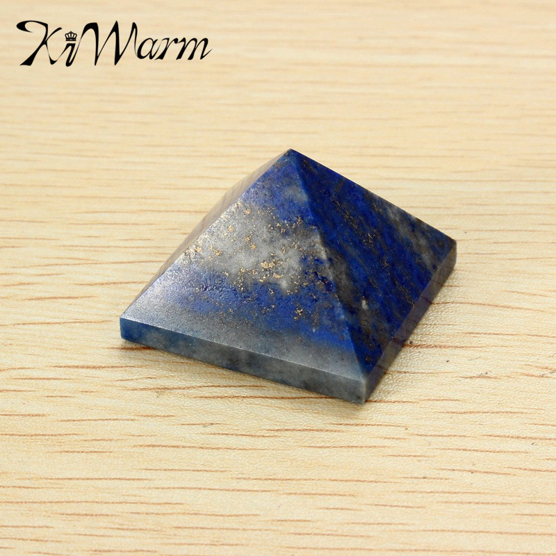 KiWarm New Natural Lapis Lazuli Crystal Pyramid Stones Feng Shui Ornaments For Home Decoration Ornament Birthday Gifts 20x30mm