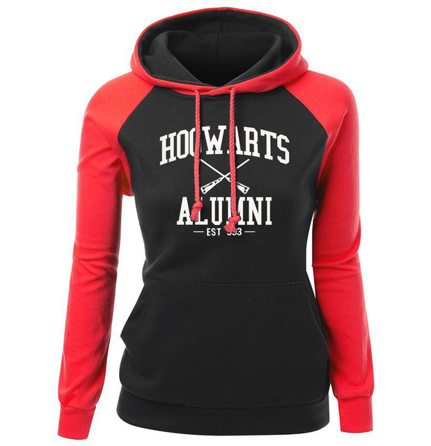 HOGWARTS ALUMNI Letter Print Women's Sweatshirt 2018 Autumn Winter Fleece Raglan Hoody Brand Clothing Fashion Pullover Harajuku 4