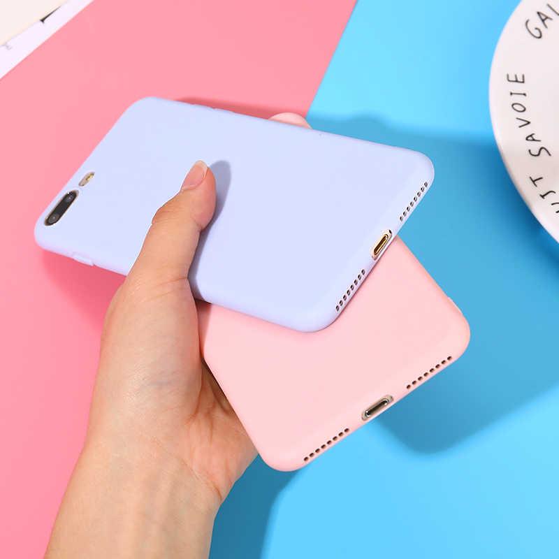 Caja del teléfono para iPhone 7 6 6s 8 X Plus 5 5S SE XR XS Max Color sólido Simple funda trasera ultrafina suave TPU Color caramelo