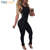 HAOYUAN Women Bandage Jumpsuits 2017 Sleeveless Bodycon One Piece Outfits Long Pants White Black Sexy Rompers