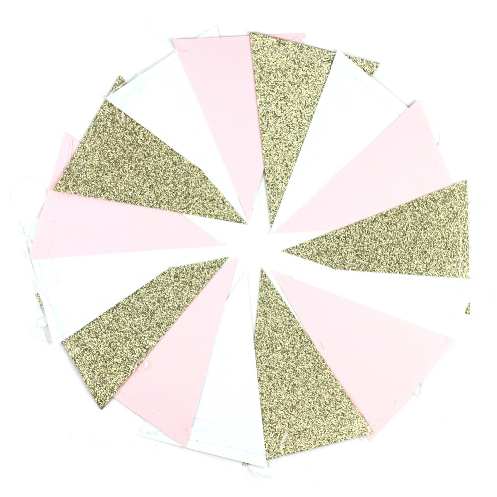 10ft Glitter Gold Pink and White Paper Bunting Banner Pennant Flags for Baby Shower Bridal Shower Wedding First Birthday Party