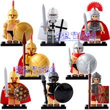 DR.TONG Medieval Knights X0164 Rome Commander Centurion Spartacus Crusader Heavy Infantry Arvoesine Building Blocks Toys Gifts