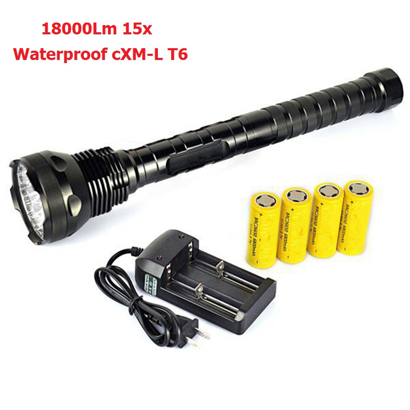 Super Bright 18000 Lumens LED portable Tactical Defense Flashlight 15x XM-L T6 5 Mode LED Torch Light+4x26650 battery + Charger 20000 lumens 15 x cree xm l2 led 5 light modes waterproof super bright flashlight torch with 1200m lighting distance