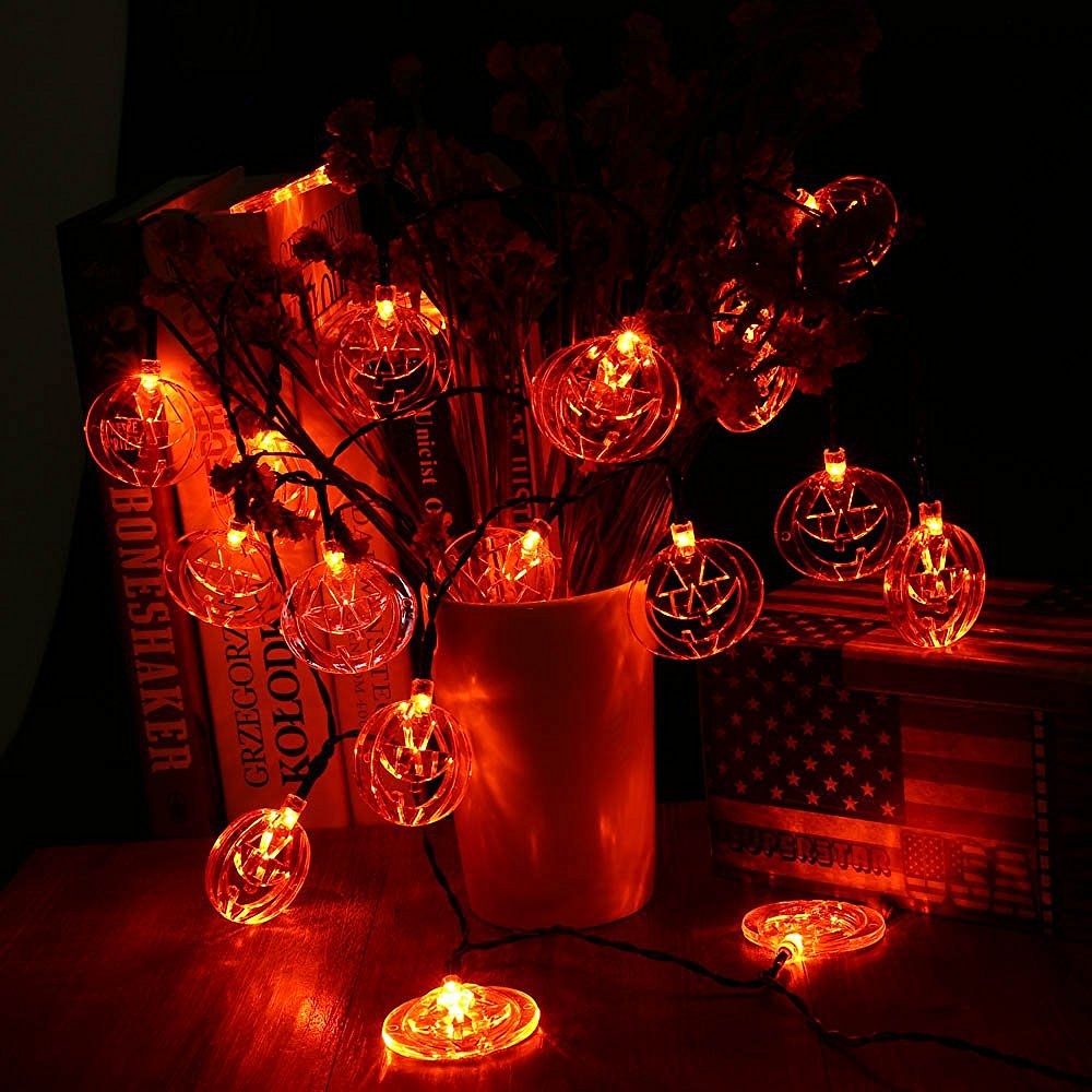 Led Halloween Lights Us 41 25 20 Led Halloween Lights 3pcs White Crystal Ghost Orange Pumpkin Purple Bat Fairy String Lights Decoration Light String In Lighting