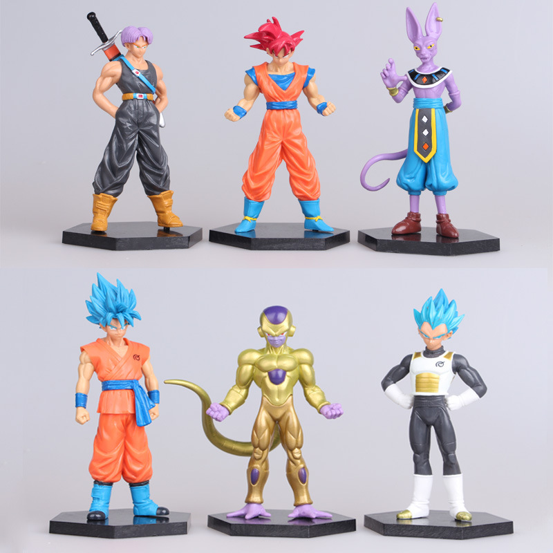 Action & Toy Figures 6pcs/set Figma Super Cute Seven Dragon Ball Sun Wukong The Money King Clay Hand Model Figure Doll Toys Wj358