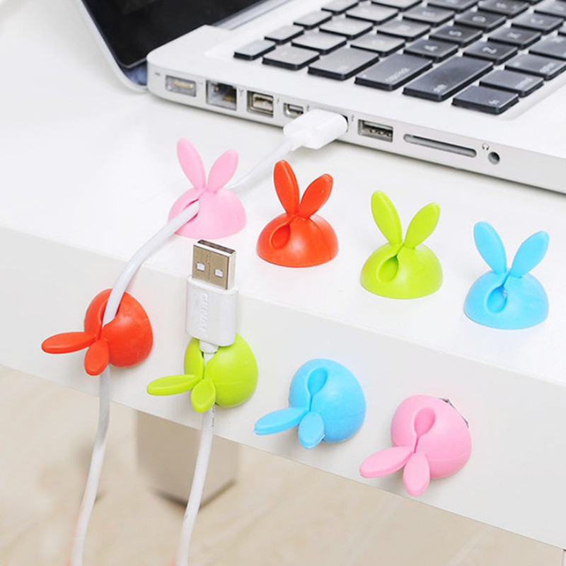 4PCS Rabbit Cable Clip Wire Organizer Wire Clips Holder Organizer USB Charger Holder Fixer