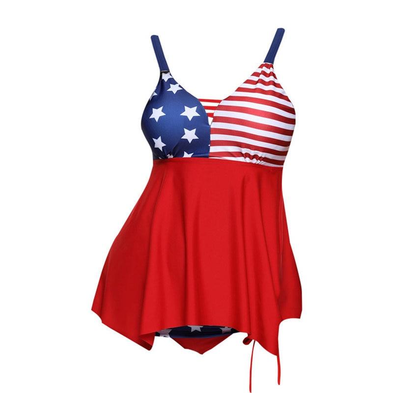 5XL Women US Flag Print Swimwear Tankini Plus Size Swim Dress Beachwear Push Up Bikins Swimsuit Swimming Suit For Women