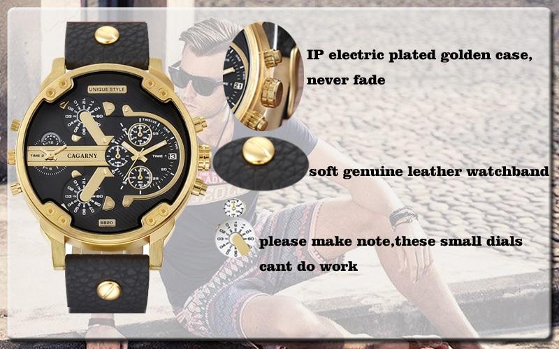 luxury brand cagarny quartz watch for men watches golden case dual time zones dz style watches (1)