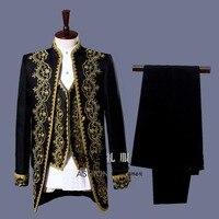3 Piece Suit Deluxe Vintage Medieval Fancy Blazer Vest Suit Groom Wedding Suit For Men Male Costume White Black Plus Size 3XL