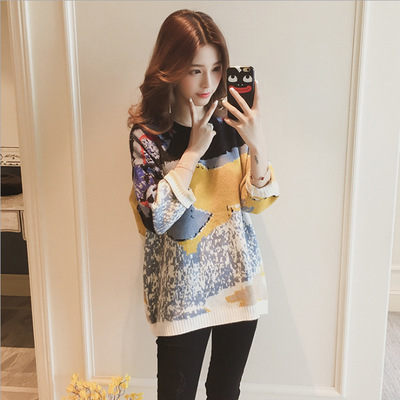 Knitwear female autumn wear Korean version of the autumn style of womens new designer sweater cute girl loose 229 YYFS