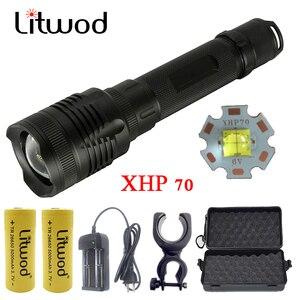 Litwod Z20P78 CREE XHP70 32 Вт чип лампа мощный зум объектив тактический светодиодный светильник фонарь 10000 мАч 26650 батарея высокий светильник