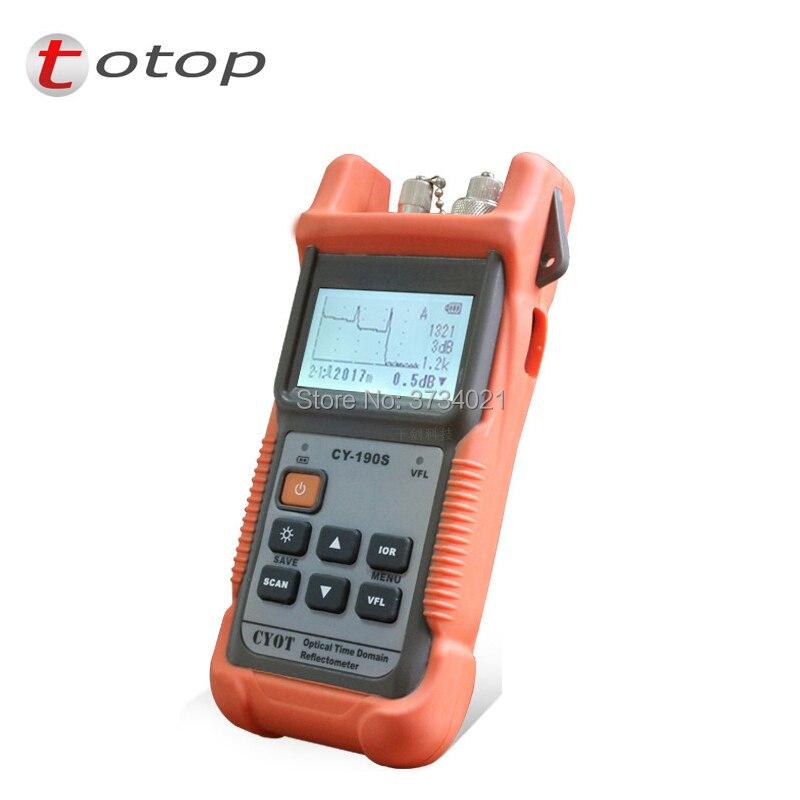 De poche OTDR CY-190S, SM 60 km 1310/1550nm + 1 mw VFL Fiber défaut tester avec FC/PC Connecteur Optique Temps réflectomètre