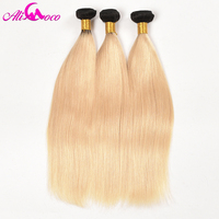Ali Coco 3 Bundles 1B 613 Ombre Blonde Brazilian Straight Hair Bundles 2 Tone Dark Roots Platinum Color Remy Human Hair Weave