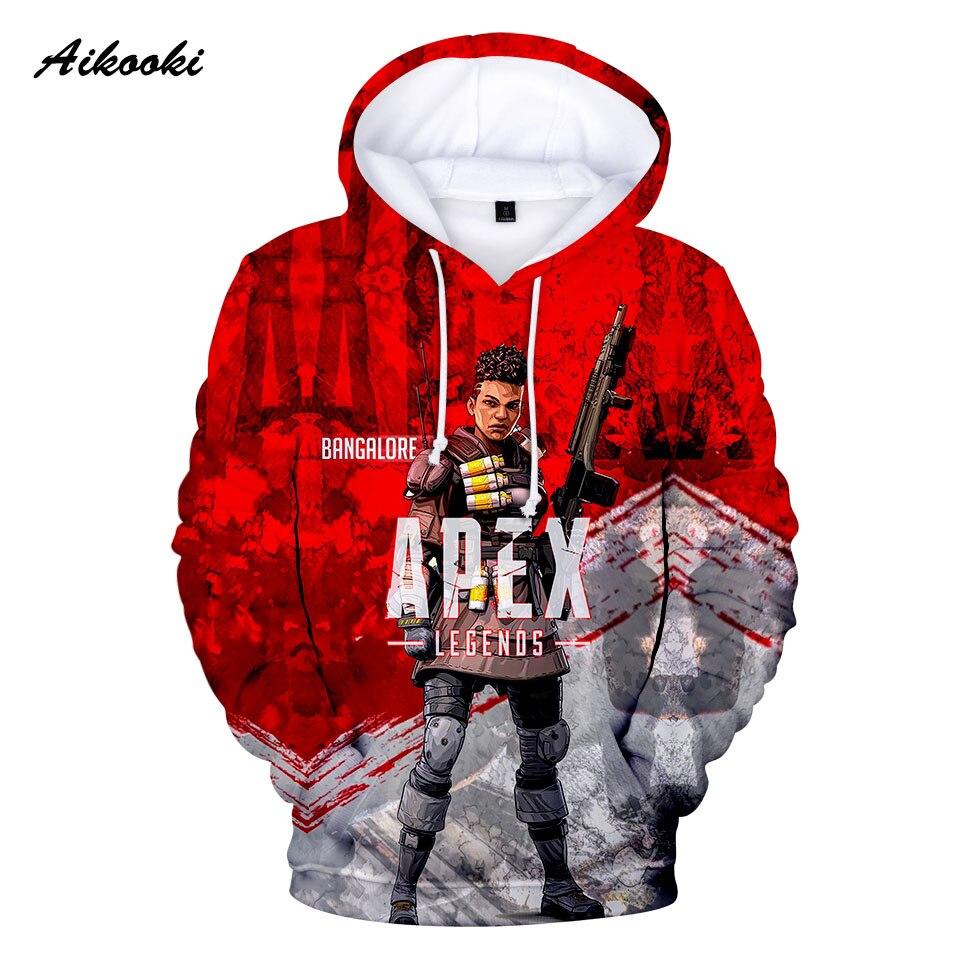 Aikooki Apex Legends Hoodies Sweatshirts Men/Women Hoody 3D Game Apex Legends Hooded Male/Female Polluvers Red Design Tops