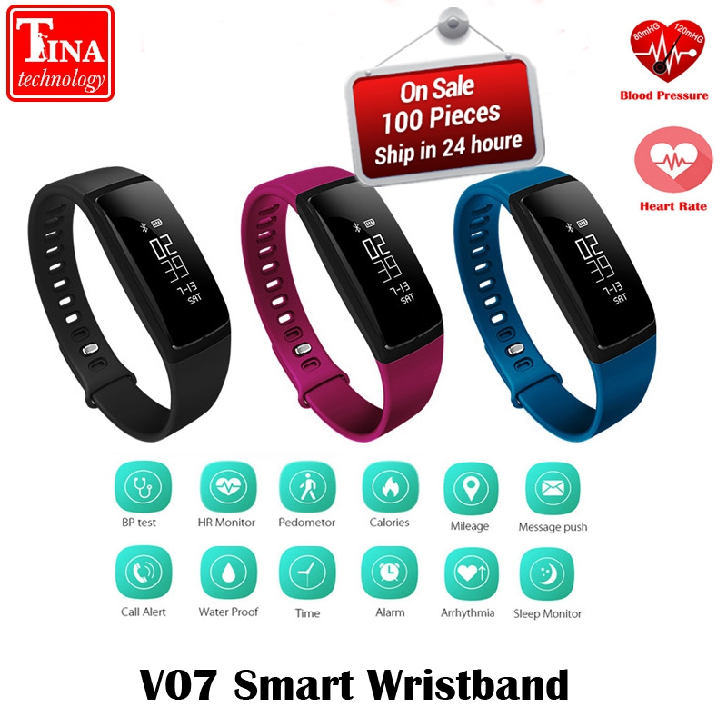 Blood Pressure Smart Wristband V07 Pedometer Smart Bracelet Heart Rate Monitor Smart band Bluetooth Fitness For Android and IOS jimate g16 pedometer smart wristband bluetooth smartband heart rate monitor blood pressure bracelet color screen for ios android