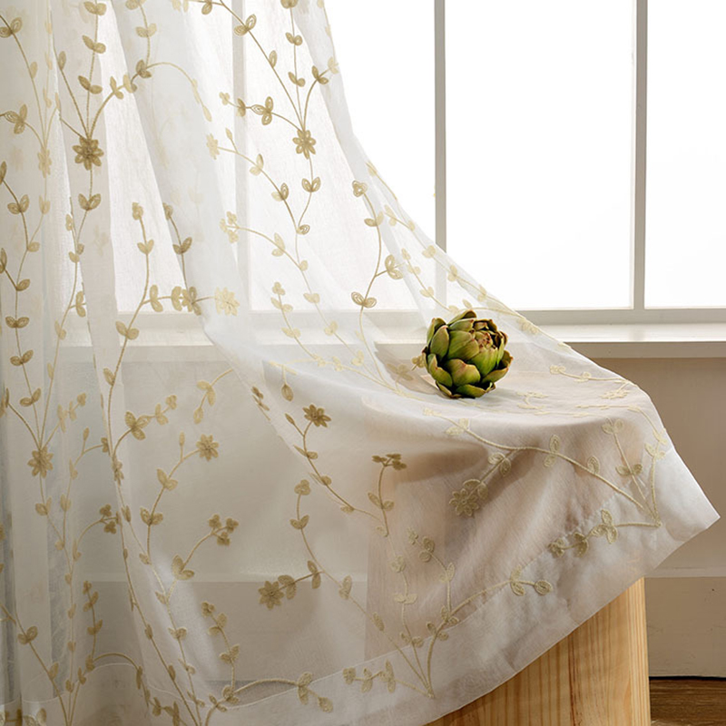 1 panel White Tulle Curtains For Bedroom Windows Cortinas Embroidered Pink Floral Voile Curtains For Living Room Home De WP070&2