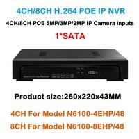 4 8 Channel NVR 4ch 8ch DVR Support POE Camera 5mp 4mp 3mp 1080P IP Camera