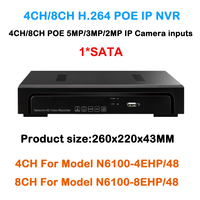 4 8 Channel NVR 4ch 8ch DVR Support POE Camera 5mp 4mp 3mp 1080P IP Camera