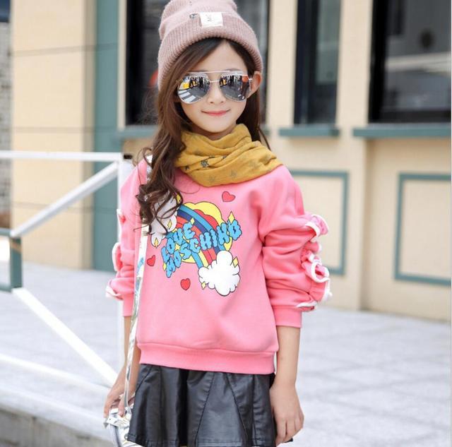 Resorte de los niños sudaderas con capucha para las muchachas adolescentes sudadera de algodón de manga larga camiseta niños de la historieta ropa china edad 2-12 años HB2049