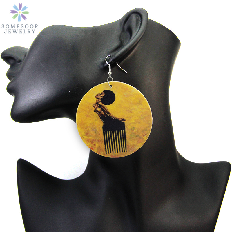 SOMESOOR African Hair Painted Wood Dangle Earrings Afrocentric Black Comb Woman Ethnic Artistic Portrait Ear Pendant Jewelry(China)