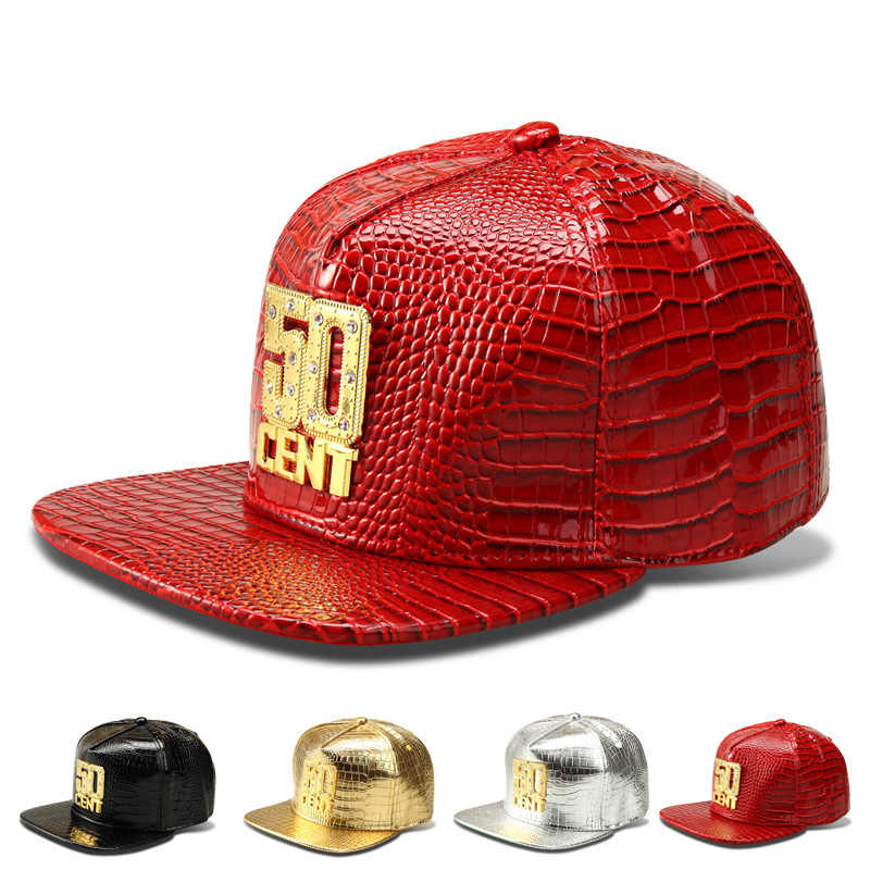 2016 Luxury 50Cent Baseball Caps Faux Leather Gold Rhinestone Cockade  Crocodile Snapback hip hop DJ rap d6b1ecbdd158