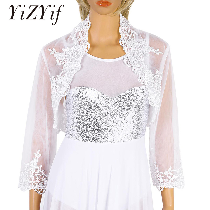 YiZYiF Women Ladies Elegant Wedding Top Jacket Floral Lace Long Sleeves/Half Sleeves Open Front Tulle Bridal Bolero Shrug Jacket