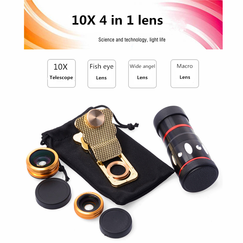 bilder für Orbmart Universal 4 in 1 Clip 10X Zoom Teleskop Fisheye Weitwinkel Makro-objektiv Für iPhone SE 6 6 S Plus Samsung S7 S6 Redmi telefon