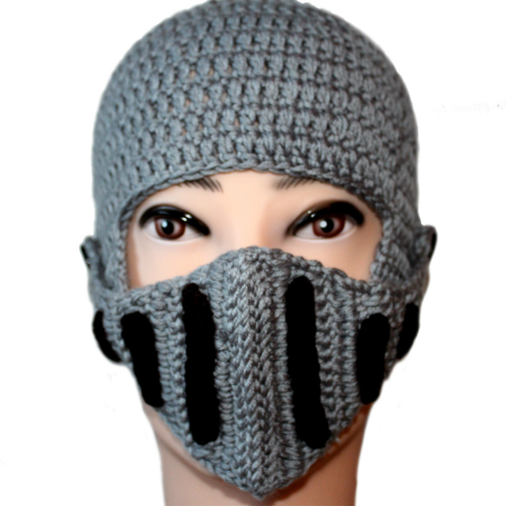 Winter Men Women Knit Hat Crochet Roman Knight Helmet Beanie ...