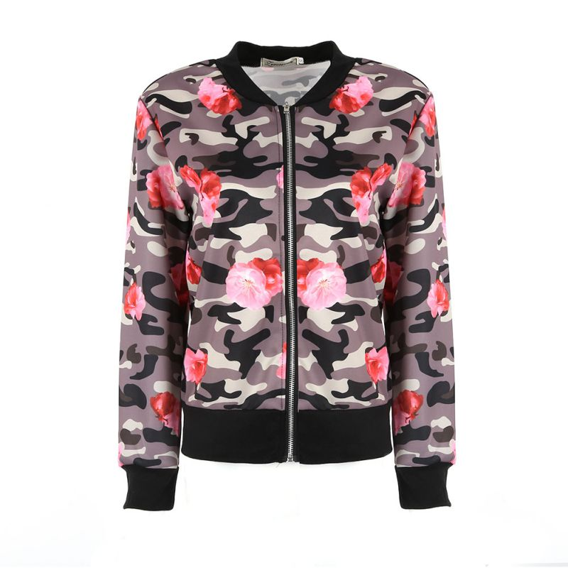 2017 Fashion Women Loose Camouflage Coat Floral Printed Tracksuits Long Sleeve Zipper Outwear Jacket 04