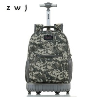 New fashion trend army camouflage luggage suitcase with wheels backpack roll travel trolley bag