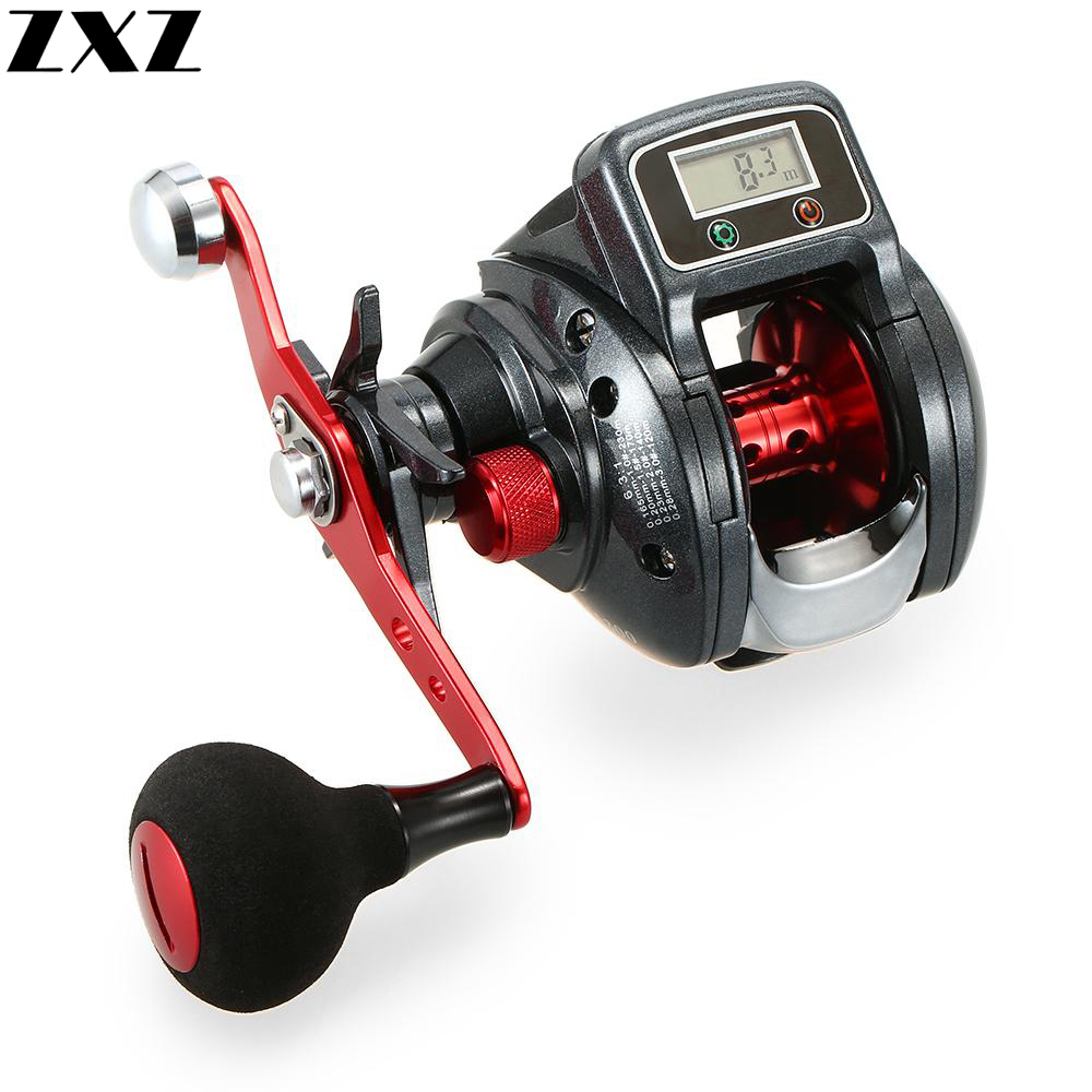 Digital Electric LED Display Lure Bait Casting Fishing Reel 13+1BB 6.3:1 Ratio Round Knob Metal Handle Baitcasting Wheel T4