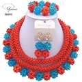 laanc Shiny Opaque Orange Coral and Turquoise Blue  african beaded jewelry set nigerian wedding crystal  C2473