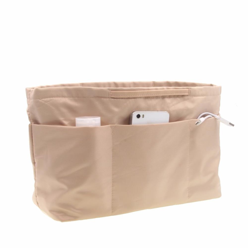 Handbag Pouch Bag in Bag Organiser Insert Organizer Tidy Travel Cosmetic Pocket, Zipper,Brown,Business Сумка