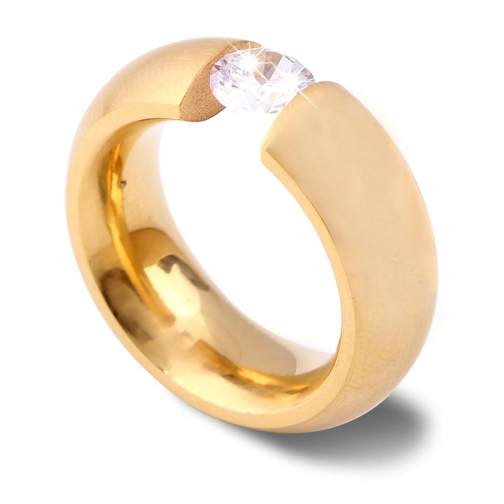 Gold-Color 316L Stainless steel Wedding Rings for Women Men 4