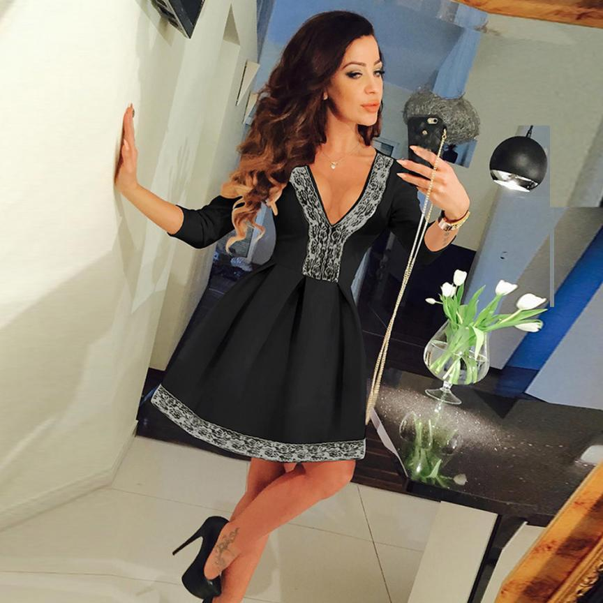 5b418af0b385 snowshine  4065 Women 3 4 Sleeve Ladies Evening Party Mini Skater Dress  free shipping-in Dresses from Women s Clothing on Aliexpress.com