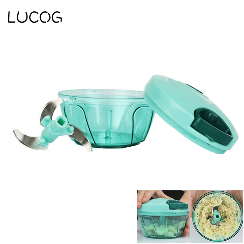 LUCOG Manual Food Meat Grinder Mincer Grinder for Meat Vegetable Spice Cutter Egg Mixing Food Processor with Stainless Blade lucog 900ml food grinder mincers for meat vegetable spice manual meat grinders stainless steel blade for kitchen moedor de carne